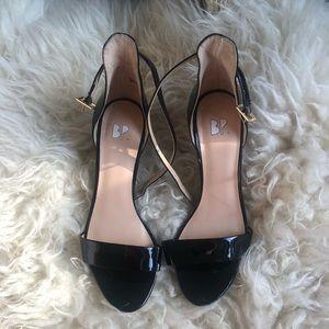 BP low patent black ankle strap heel